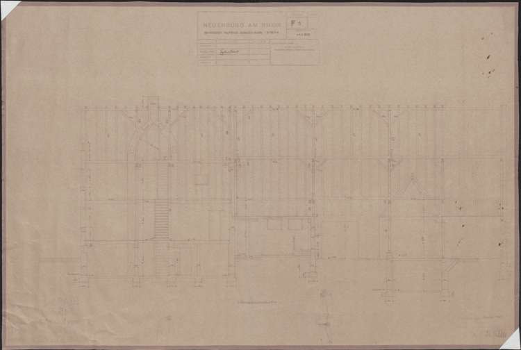 Wiederaufbau des Anwesens Alfred Grozinger-Stein; Neuenburg am Rhein; Längsschnitt, Bild 1