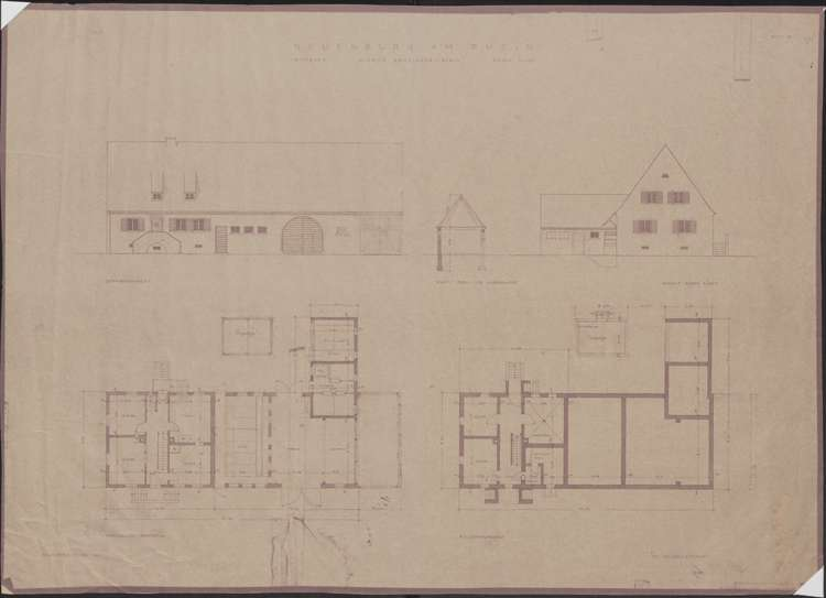 Wiederaufbau des Anwesens Alfred Grozinger-Stein; Neuenburg am Rhein; Grundriss Erd- Und Kellergeschoss, Ansichten, Bild 1