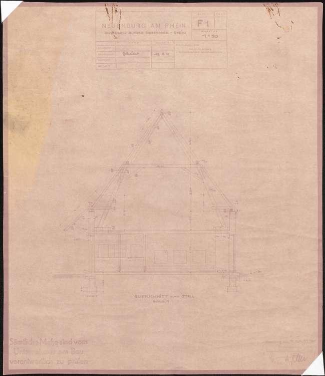 Wiederaufbau des Anwesens Alfred Grozinger-Stein; Neuenburg am Rhein; Querschnitt durch den Stall, Bild 1