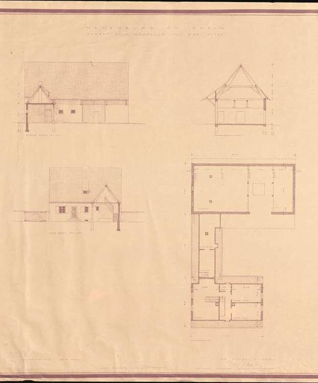 Wiederaufbau des Anwesens Adam Kappeler; Neuenburg am Rhein; Querschnitt und Ansicht der Scheune, Grundriss des Dachgeschosses, Bild 1