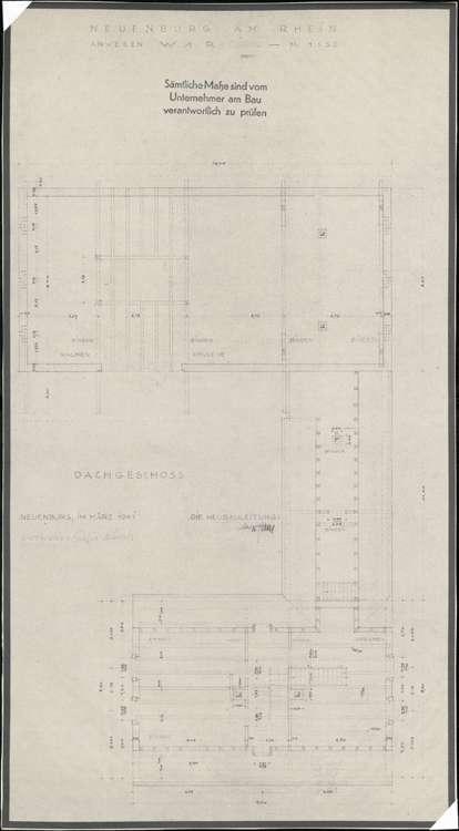 Wiederaufbau der Neubauten Typen W1R und W1L; Neuenburg am Rhein; Grundriss Dachgeschoss, Bild 1