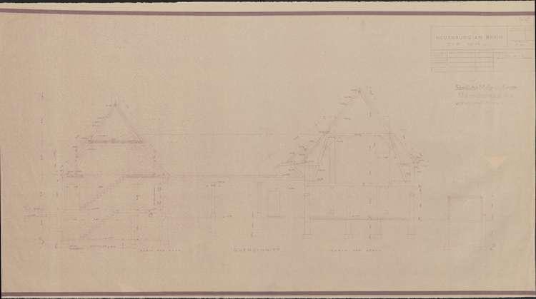 Wiederaufbau der Neubauten Typen W1R und W1L; Neuenburg am Rhein; Querschnitte durch das Haus und den Stall, Bild 1