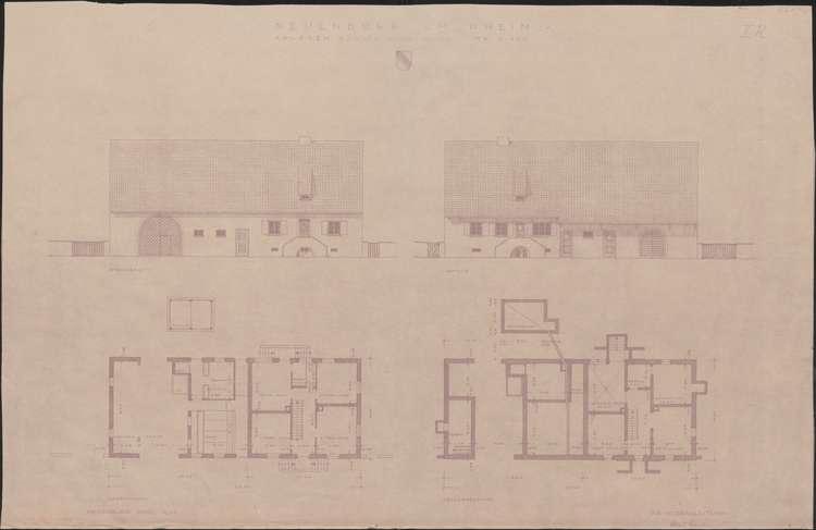 Wiederaufbau der Neubauten Typ 2 R und 2 L; Neuenburg am Rhein; Grundrisse Erd- und Kellergeschoss, Fassadenansichten, Bild 1