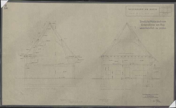 Wiederaufbau der Neubauten Typ 2 R und 2 L; Neuenburg am Rhein; Querschnitte durch den Stall und die Tenne, Bild 1