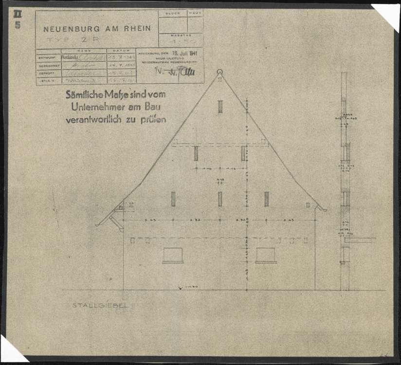 Wiederaufbau der Neubauten Typ 2 R und 2 L; Neuenburg am Rhein; Aufriss des Stallgiebels, Bild 1