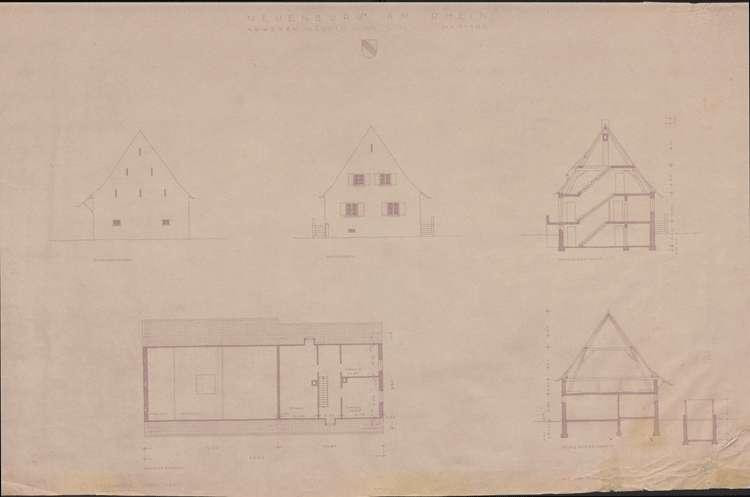 Wiederaufbau der Neubauten Typ 3 R und 3 L; Neuenburg am Rhein; Ansichten, Querschnitte und Grundriss Dachgeschoss, Bild 1