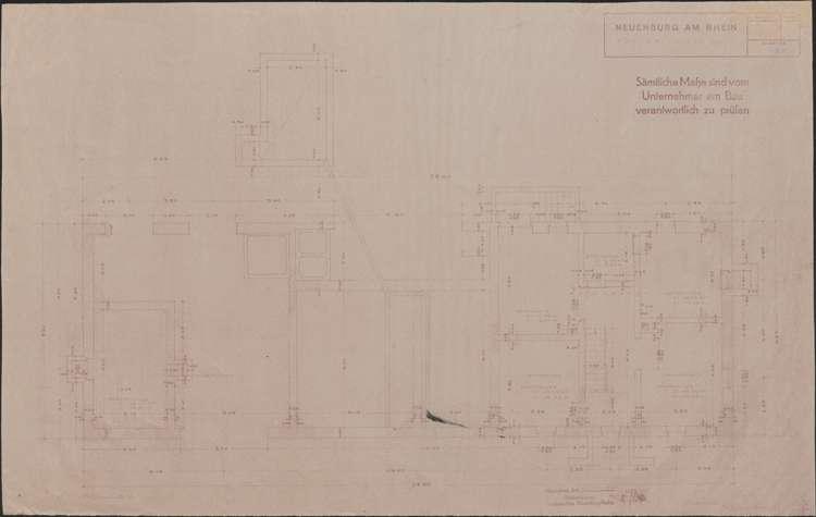 Wiederaufbau der Neubauten Typ 3 R und 3 L; Neuenburg am Rhein; Grundriss Kellergeschoss, Bild 1