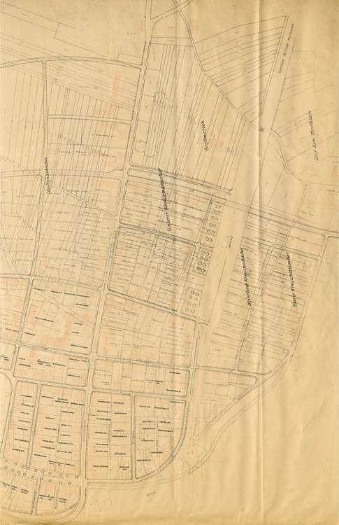 Wiederaufbau Neuenburg; Lageplan; gef. v. Bad. Ministerium des Innern, 1:1000, 3.vl