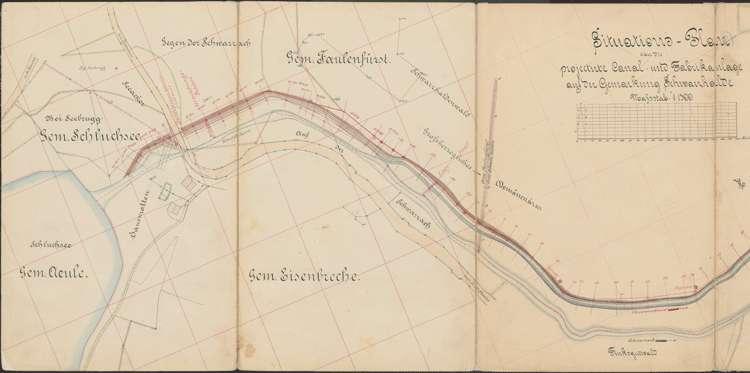 Konzessionsgesuch für die Errichtung eines Wasserwerkes an der Schwarzach; Gemarkungen Schluchsee, Faulenfürst, Eisenbreche, Schwarzhalden, Blasiwald; Situationsplan des Kanals, l