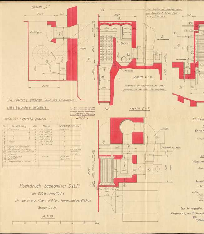 Dampfkesselanlage für die Albert Köhler KG, Gengenbach, l