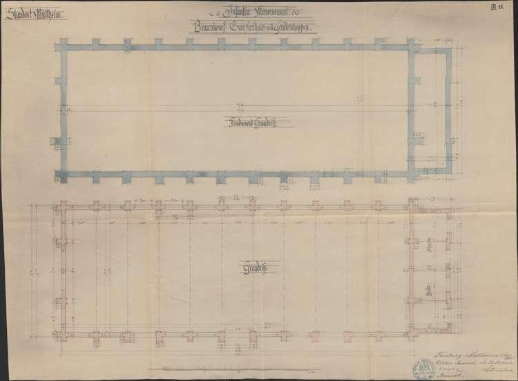 Infanteriekaserne Müllheim; Grundriss des Fundaments des Exerzierhauses, Bild 1