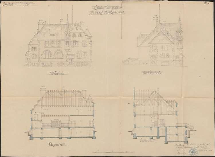 Infanteriekaserne Müllheim; Ansichten und Schnitte der Offiziersspeiseanstalt, Bild 1