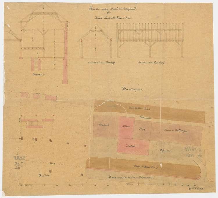 Situationsplan, Ansichten und Schnitte zu einem Dreschmaschinengebäude für Leonhard Kraus in Niederweiler, Bild 1