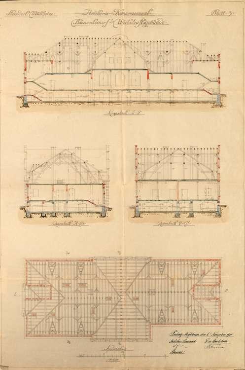 Artilleriekaserne Müllheim; Schnitte und Sparrenanlage des Witrschaftsgebäudes, Bild 1