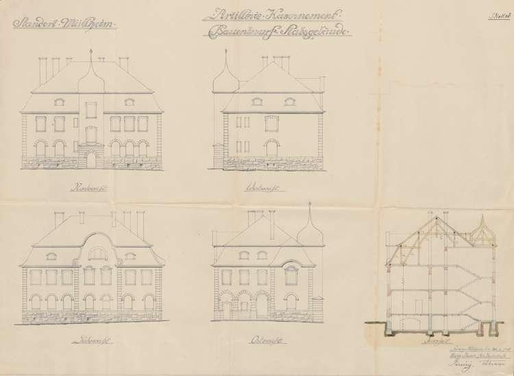 Artilleriekaserne Müllheim; Ansichten und Schnitt des Stabsgebäudes, Bild 1