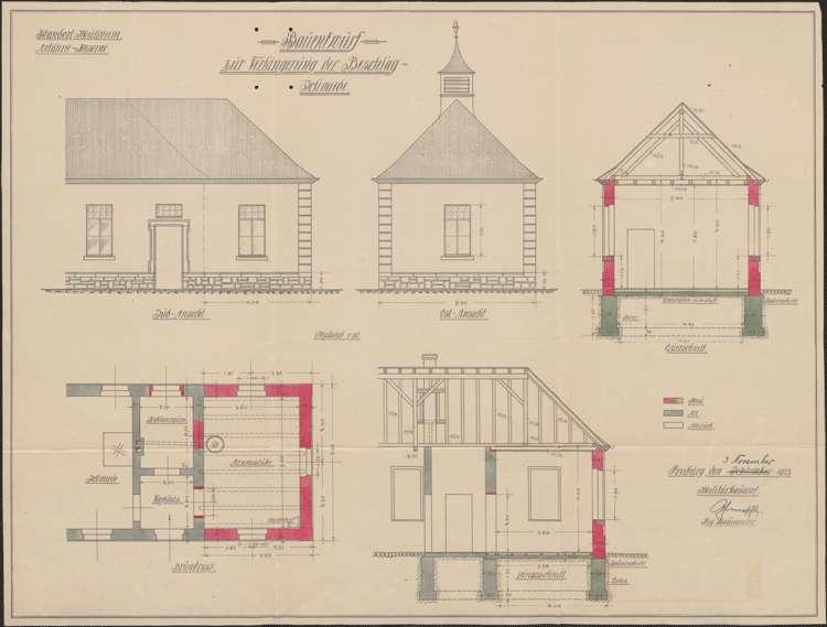 Artilleriekaserne Müllheim; Bauentwurf zur Verlängerung der Beschlagschmiede, Bild 1