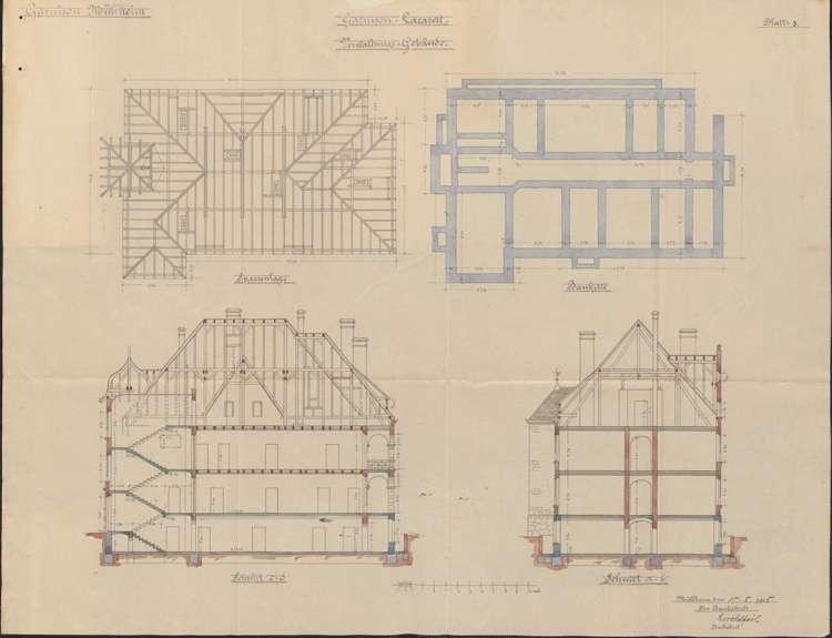 Garnisonslazarett Müllheim; Grundrisse der Stockwerke des Verwaltungsgebäudes, Bild 1