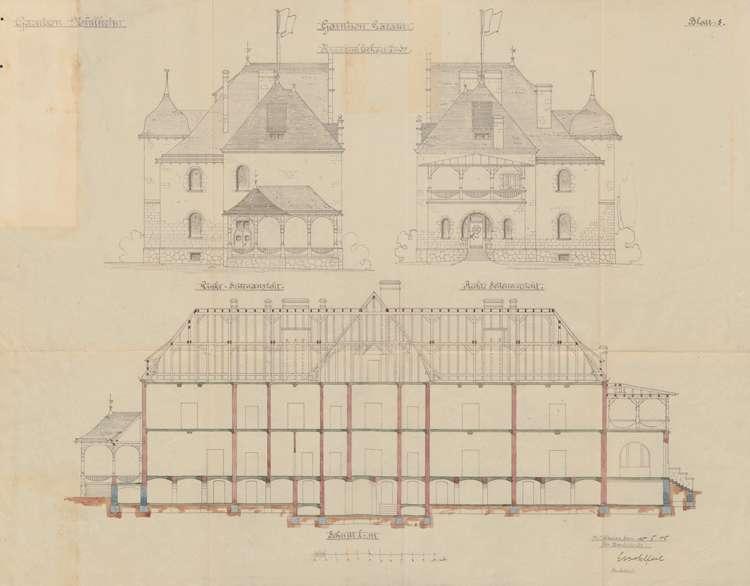 Garnisonslazarett Müllheim; Seitenansichten und Längenschnitt des Krankenblockgebäudes, Bild 1