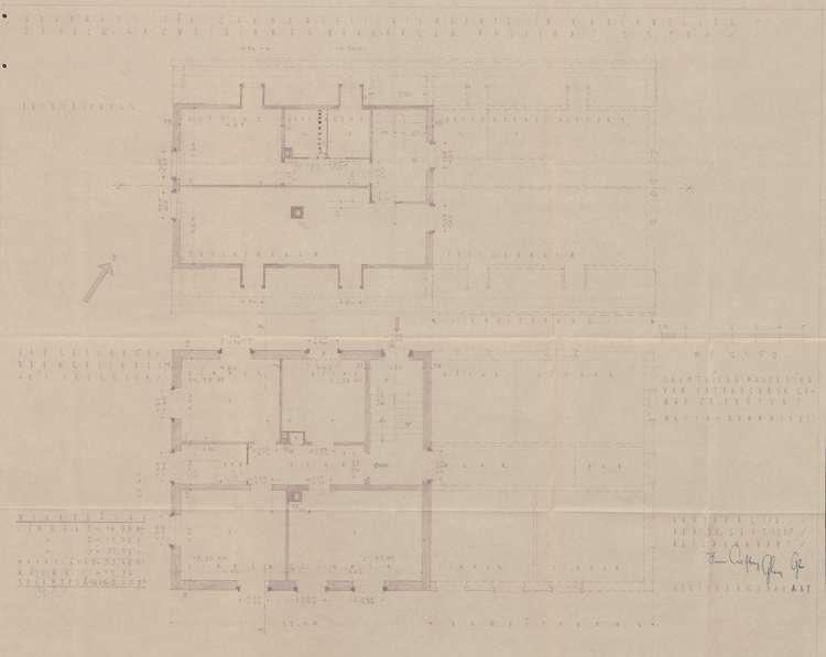 Wohnhaus für Grenzaufsichtsbeamte in Rheinweiler; fünf Dreizimmerwohnungen, Grundrisse Dachgeschoss und Erdgeschoss, Bild 1