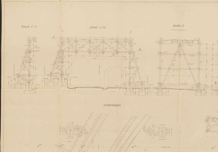 Bau einer Drahtseilbahn für die Vereinigten Granitwerke Seebach & Kandern; Gebr. Thiele, Kandern, Fundamentplan, lo