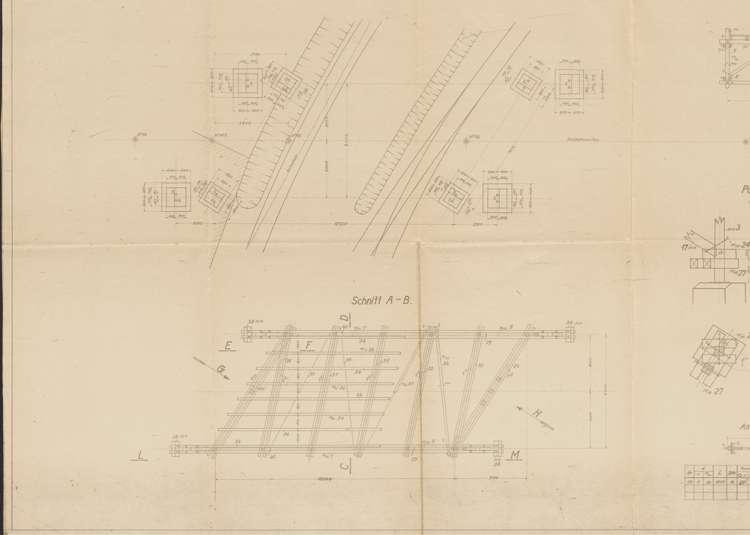 Bau einer Drahtseilbahn für die Vereinigten Granitwerke Seebach & Kandern; Gebr. Thiele, Kandern, Fundamentplan, lu