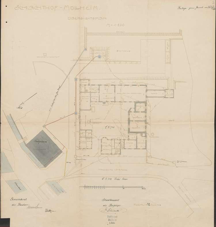 Schlachthof Müllheim; Anschluss der Kläranlage-Abwässer an die Kanalisation der Löfflergasse; Übersichtsplan, Bild 1