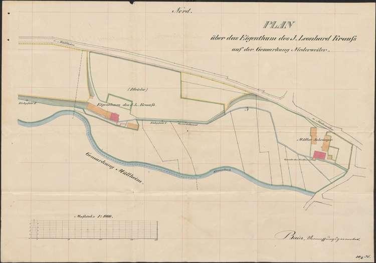 Plan über das Eigentum von Leonhard Kraus auf der Gemarkung Niederweiler, Bild 1