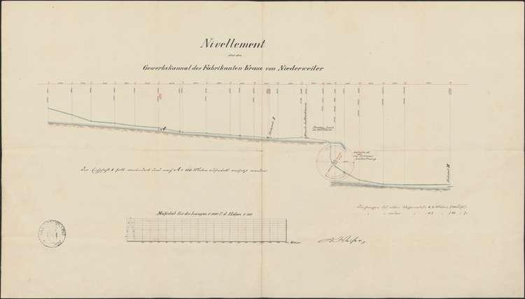 Nivellement über den Gewerbekanal des Fabrikanten Kraus von Niederweiler, Bild 1