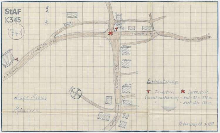 Tankstellen und Autosperren in Häusern; auf handgezeichnetem Lageplan von Häusern, Bild 1