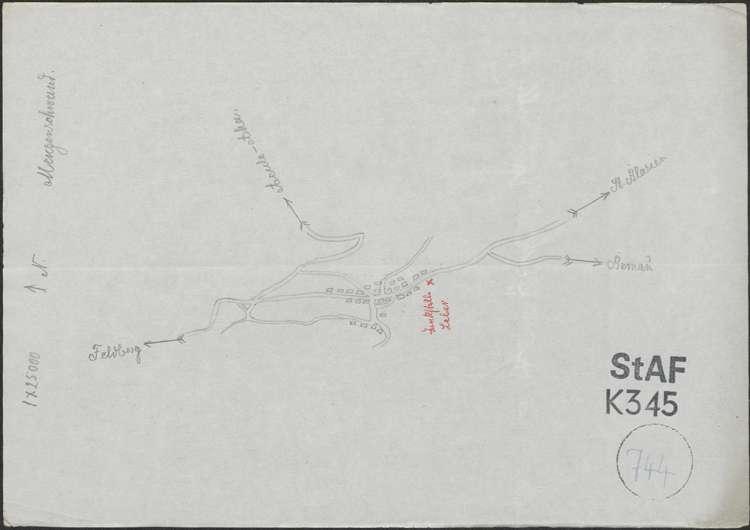 Lageplan der Tankstelle Leber in Menzenschwand; auf Lageplan von Menzenschwand, handgezeichnet, 1:25000, Bild 1