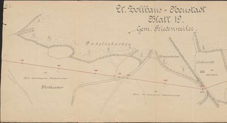 Lageplan der Leitung Zollhaus - Neustadt, bei Gemarkung Friedenweiler und Rudenberg; Blatt 19, 1:1500, l