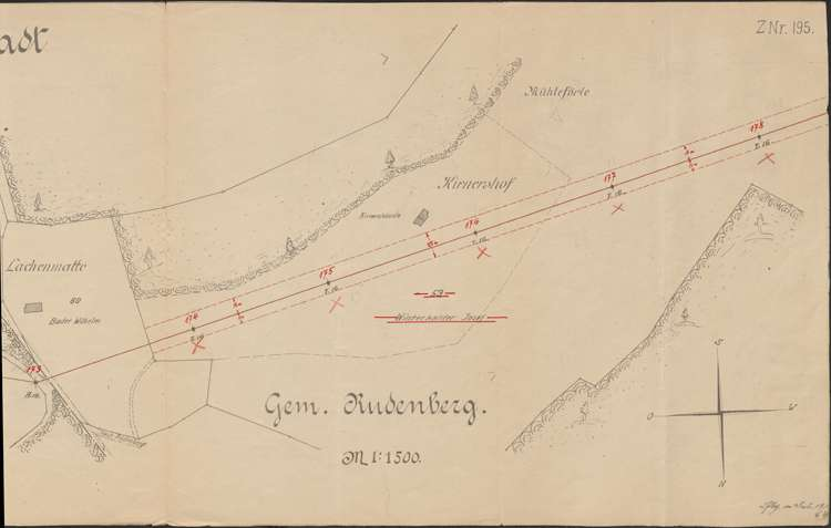 Lageplan der Leitung Zollhaus - Neustadt, bei Gemarkung Friedenweiler und Rudenberg; Blatt 19, 1:1500, r