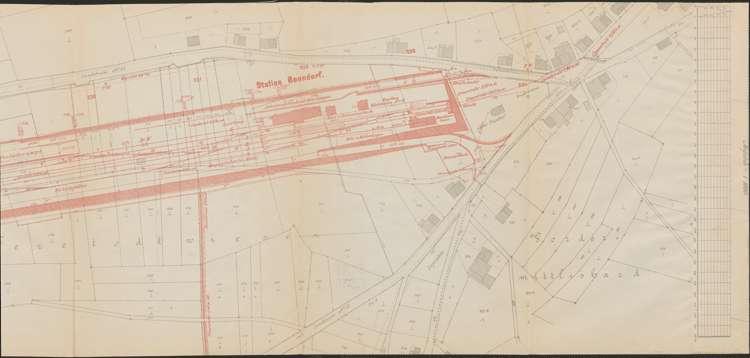 Bau der Bahnlinie Kappel - Bonndorf; Güterplan der Gemarkung Bonndorf II, r