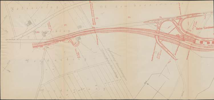 Bau der Bahnlinie Kappel - Bonndorf; Güterplan der Gemarkung Gündelwangen I, l