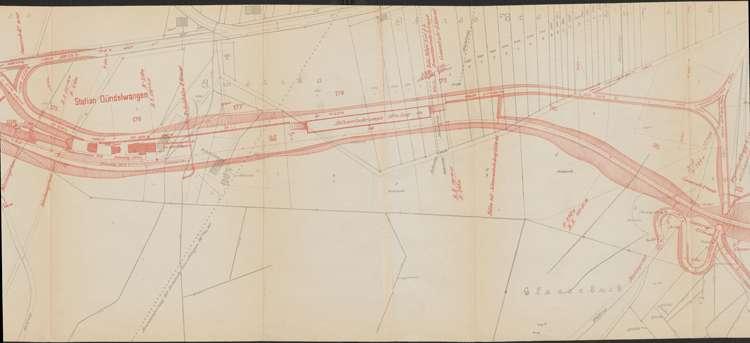 Bau der Bahnlinie Kappel - Bonndorf; Güterplan der Gemarkung Gündelwangen I, m