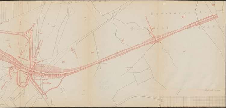 Bau der Bahnlinie Kappel - Bonndorf; Güterplan der Gemarkung Gündelwangen I, r