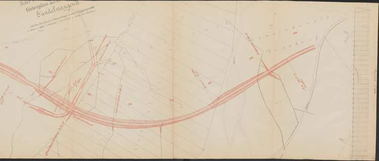 Bau der Bahnlinie Kappel - Bonndorf; Güterplan der Gemarkung Gündelwangen II, r