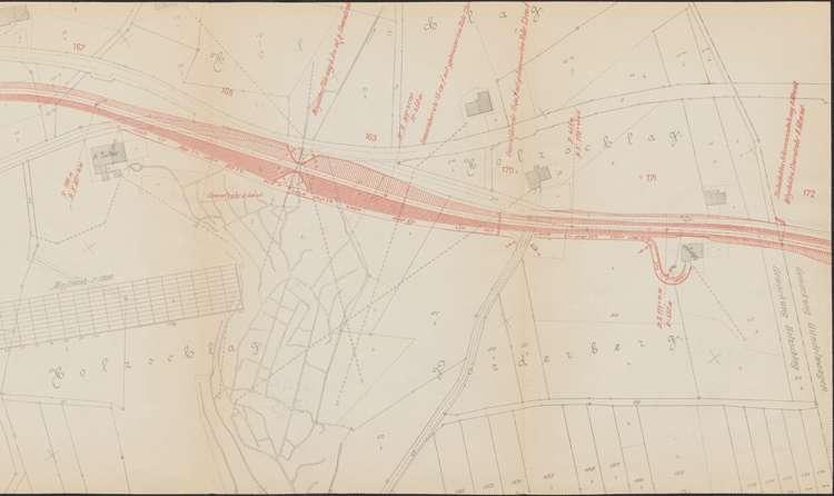 Bau der Bahnlinie Kappel - Bonndorf; Güterplan der Gemarkung Holzschlag, r