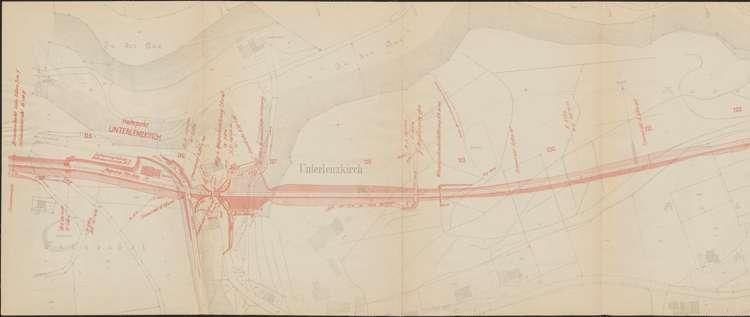 Bau der Bahnlinie Kappel - Bonndorf; Güterplan der Gemarkung Unterlenzkirch II, l
