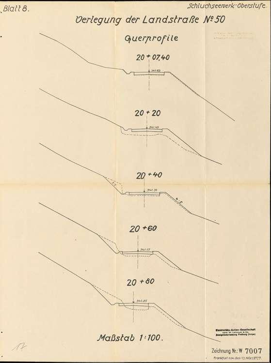 Schluchseewerk Oberstufe; Verlegung der Landstraße 50/197 Aha - Schluchsee; Querprofil, Bild 1
