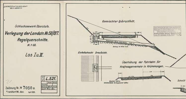 Schluchseewerk Oberstufe; Verlegung der Landstraße 50/197 Aha - Schluchsee; Regelquerschnitte Los I und Los II, l