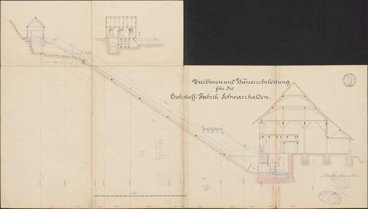 Konzessionsgesuch für die Errichtung eines Wasserwerkes an der Schwarzach; Gemarkungen Schluchsee, Faulenfürst, Eisenbreche, Schwarzhalden, Blasiwald; Längenprofil der Rohrleitung, Bild 1