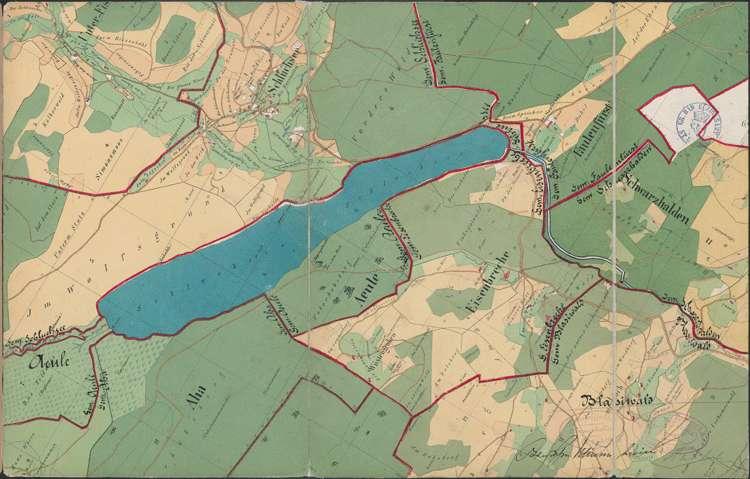Konzessionsgesuch für die Errichtung eines Wasserwerkes an der Schwarzach; Gemarkungen Schluchsee, Faulenfürst, Eisenbreche, Schwarzhalden, Blasiwald; generelle Situation, Bild 1