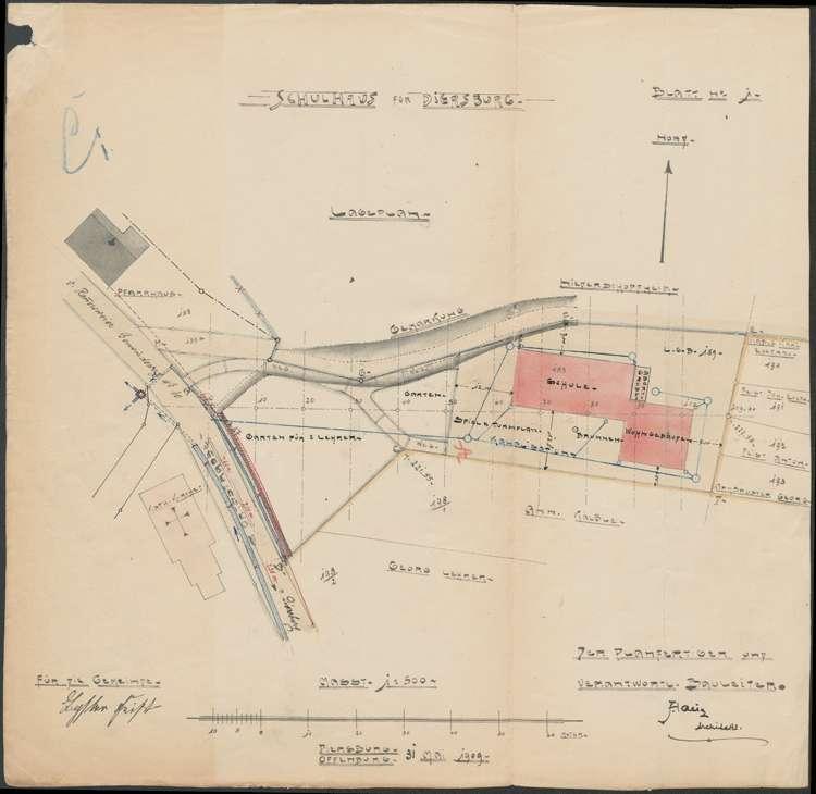 Schulhausneubau Diersburg; Lageplan des Baugeländes, Bild 2