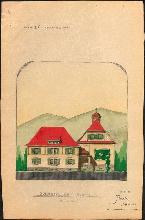 Schulhausneubau Diersburg, Ostansicht, Bild 1