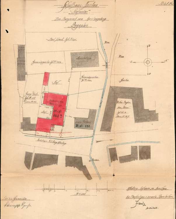 Schulhausneubau Hofweier; Lageplan des Baugeländes, Bild 2