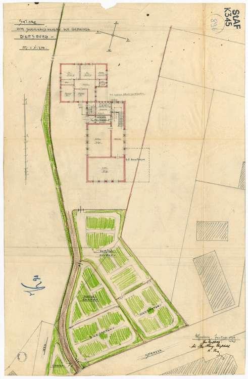 Schulhausneubau Diersburg; Lageplan mit Grundriss, Bild 1