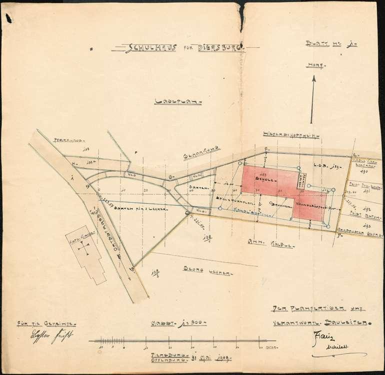 Schulhausneubau Diersburg; Lageplan, Bild 1