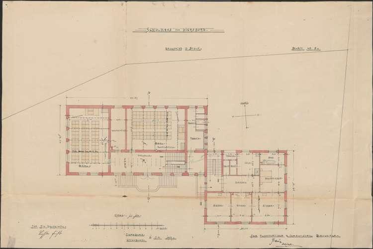 Schulhausneubau Diersburg; Grundriss 1. Stock, Bild 1