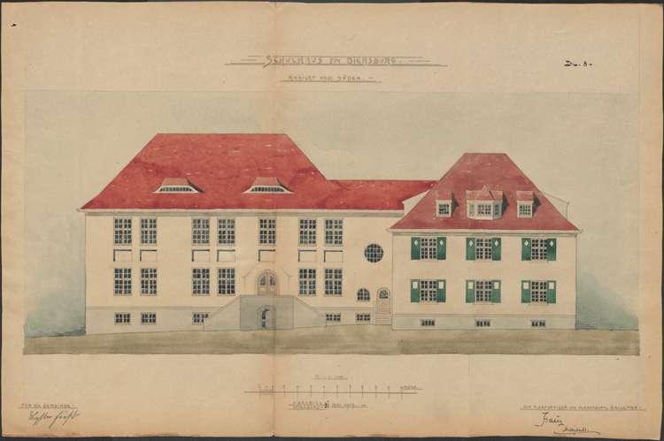 Schulhausneubau Diersburg; Südansicht, Bild 1